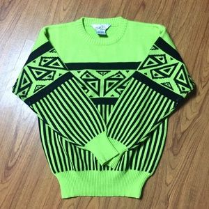 vtg Lime Green Aztec Print Ski Sweater